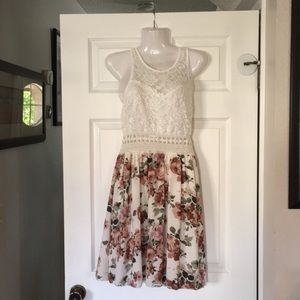 Papaya lace and floral dress